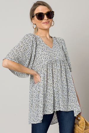 Ditsy Empire Blouse, Off White