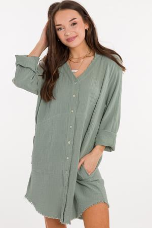 Gina Gauze Button Dress, Sage