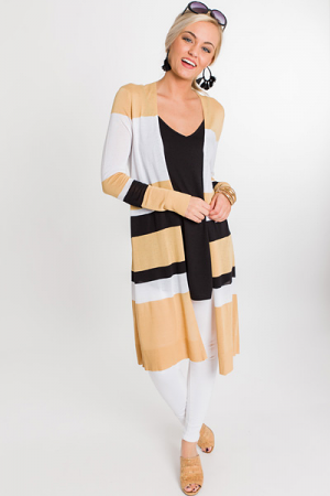 Beau Striped Duster, Tan