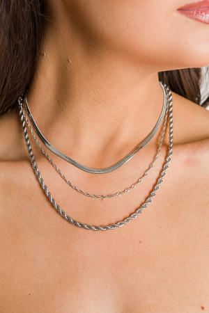 Twisted Layer Necklace, Silver