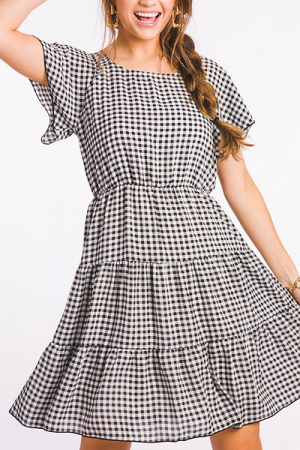 Checkered Flutter Dress, Black