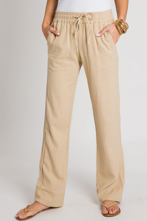 Linen Pull on Pants, Taupe
