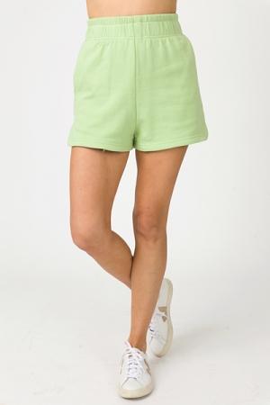 Solid Sweat Shorts, Apple Green