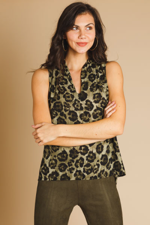 Olive Leopard Sleeveless Blouse