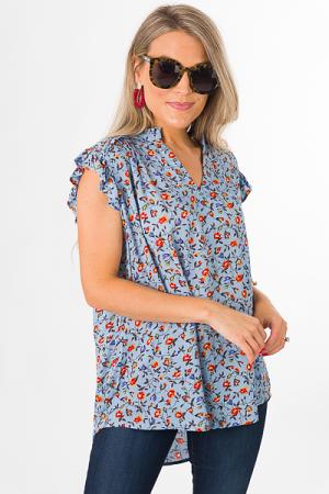 Sarah Top, Blue Floral