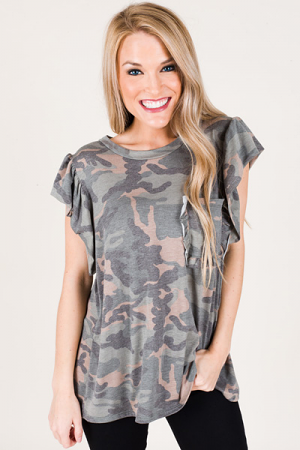 Camo Ruffle Pocket Tee