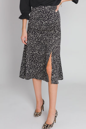 Dotted Slit Midi Skirt, Black