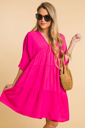 Babydoll Tiers Dress, Hot Pink