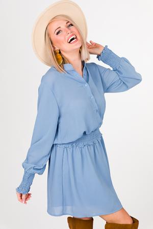 Crinkle Smocked Dress, Blue