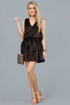 Satin Tie Mini Dress, Black