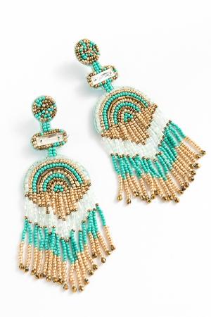 Multi Shape Fringe Earring, Turquoise