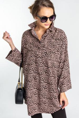 Leopard Shirt Dress, Pink
