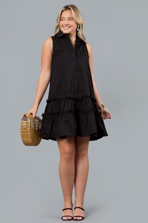 Poplin SL Shirt Dress, Black