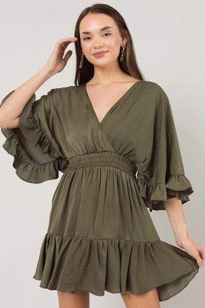 Silky Flutter Dress, Olive