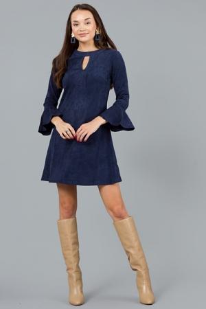 Keyhole Suede Dress, Navy
