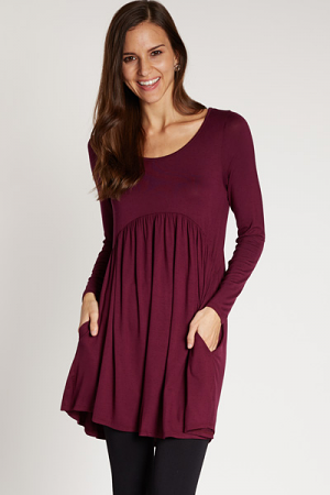 Babydoll Pocket Dress, Burgundy