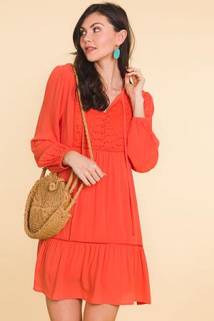 Eyelet Bib Dress, Tangerine