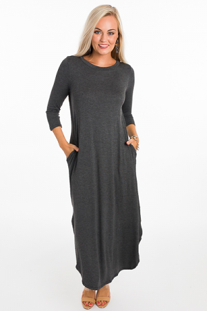 Scoop Bottom Maxi, Charcoal