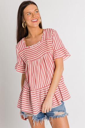 Smocked Stripes Blouse, Red