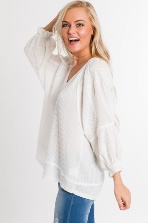 Lily Embroidered Waffle Top
