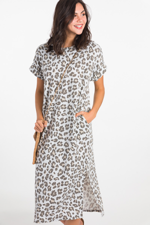 Heather Gray Leopard Midi