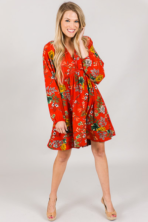 Red Floral Frock