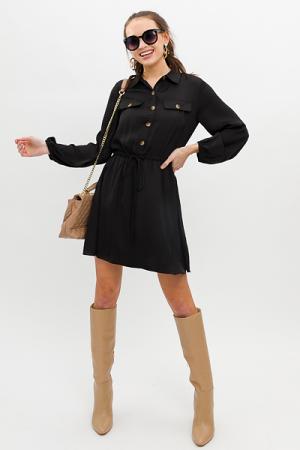 Button Front Satin Dress, Black