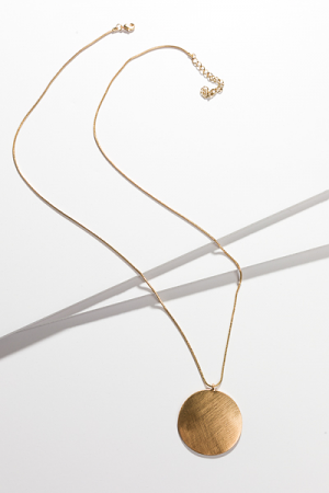 Etched Circle Pendant Necklace