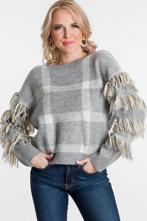 Fringe Sleeve Checker Sweater