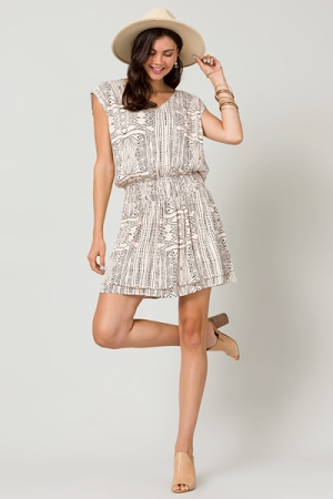 Dotted Design Smock Dress, Taupe