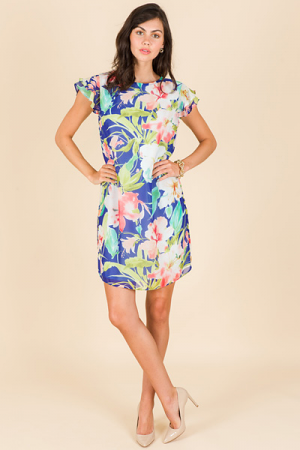 Spring Sonnet Dress, Blue Floral