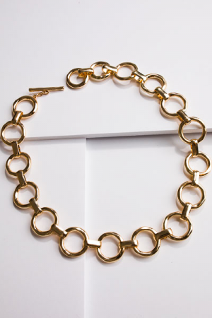 Gold Circle Links Necklace