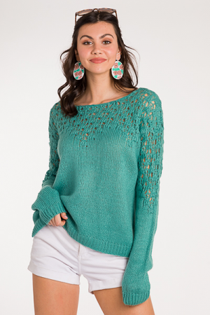 Crochet Chest Sweater, Mint