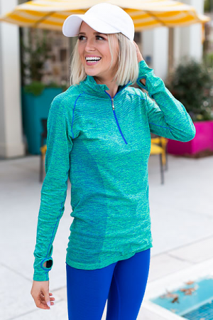 Half Zip Active Pullover, Green