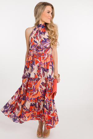 Abstract Halter Maxi, Multi