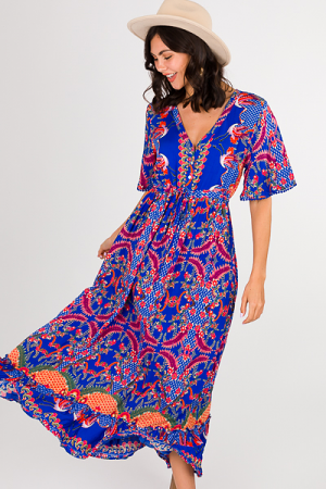 Drawstring Maxi, Royal Print