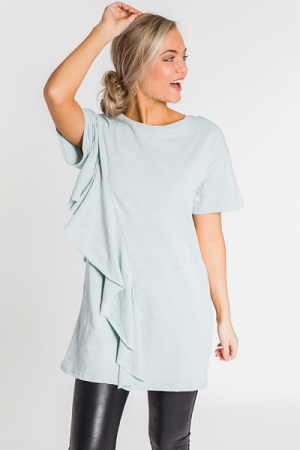 Ruffle Wrap T-Shirt Dress, Sage