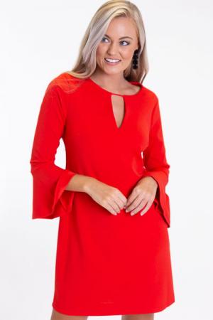 Nicole Cutout Shift, Red