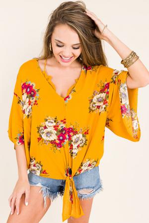 Flower Darling Top, Mustard
