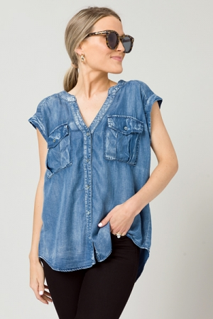 Miller Washed Chambray Top, Blue