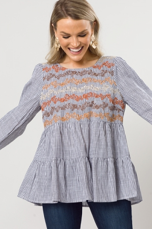 Fall Floral Pinstripe Top, Charcoal