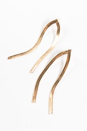 2 Rows Snake Chain Earrings, Gold