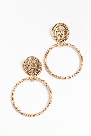 Coin & Ball Circle Earrings, Gold