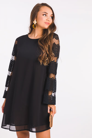 Up My Sleeve Dress, Black