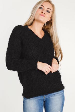Fuzzy Feels Black Sweater