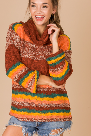 Cowl Stripe Fuzzy Sweater, Multi