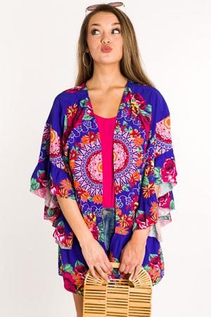 Cobalt Craze Floral Kimono