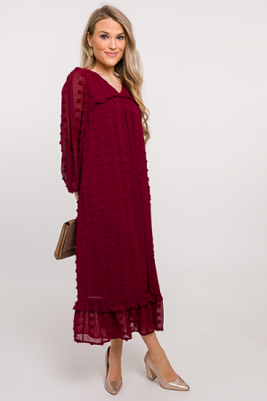 Swiss Dot Midi Dress, Burgundy