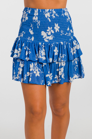 Smocked Skirt, Blue Floral
