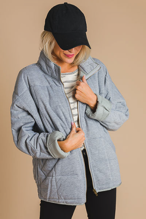 Quilted Batwing Jacket, H. Grey